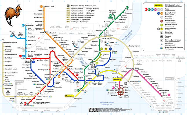 Istanbul Transportation Map, Bus Network