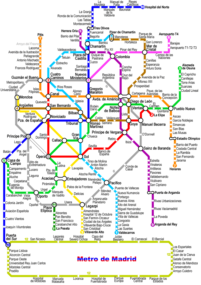 Madrid Metro Map Mappa Madrid 2018